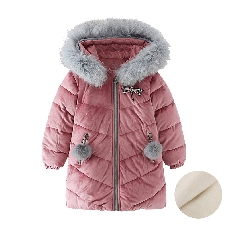 Big Girls Winter Coats With Fur Hood Cotton Thicken Warm Clothes Teenage Girls Padded Jacket Long Outerwear 4 6 8 10 12 years winter large faux fur fashion bf loose warm jacket women students hood parka cotton padded jacket outerwear big size tt3081