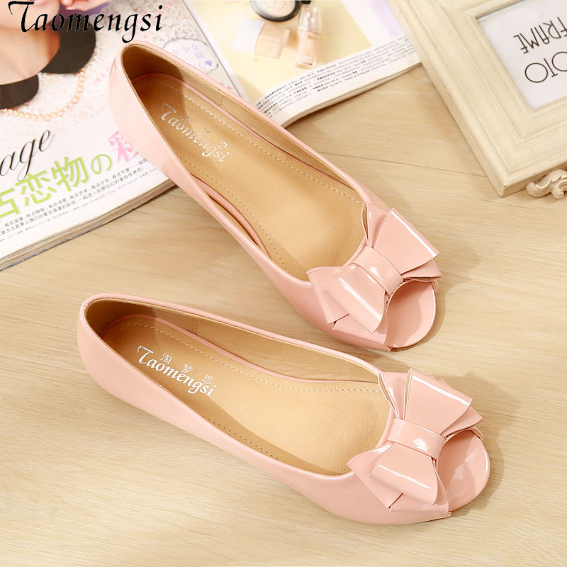 Taomengsi Women's Shoes 2017 Bow Sweet Shoes Leather Shallow Mouth Mouth Sweet Flat Shoes Pure Fashion Sandals сабо sweet shoes sweet shoes sw010awtrl49