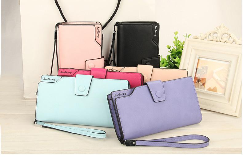 2018 New Wallet Split Leather Wallets Female Long Wallet Women Zipper Purse Money Bag pink one size 21
