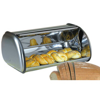 Stainless Steel Roll Top Bread Box Storage Bin Kitchen Container Pastry Baking Supplies J2Y