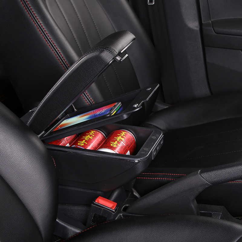 Boîte d'accoudoir pour Toyota Yaris Vitz Hatchback double couche rotative en cuir PU Console centrale boîte de rangement avec cendrier support de verre