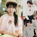 SWT030 women winter new thick harajuku kawaii clothes hoodie korean retro cute orange letter printing sweatshirt women