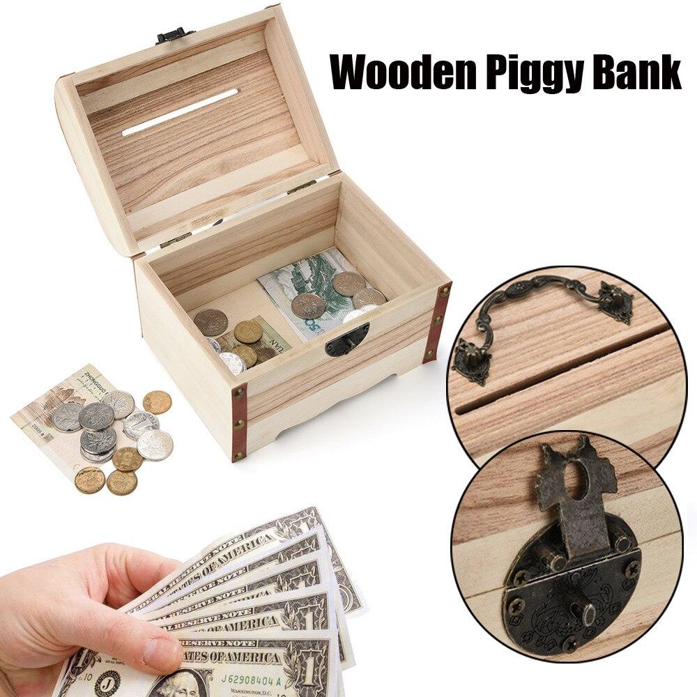 2017 new design wooden piggy bank safe money box savings for Home money box