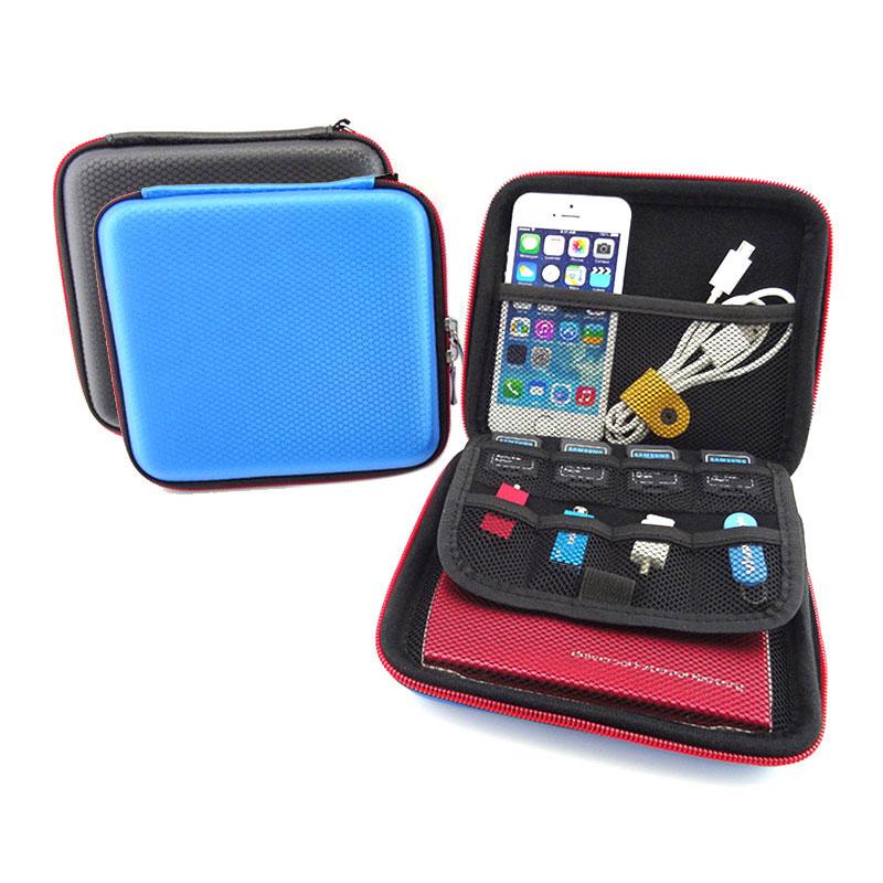 Organizador de bolsas de almacenamiento cuadrado portátil para disco duro, bolsa HDD, banco de energía, disco en U, cargador, bolsillo mini gadget