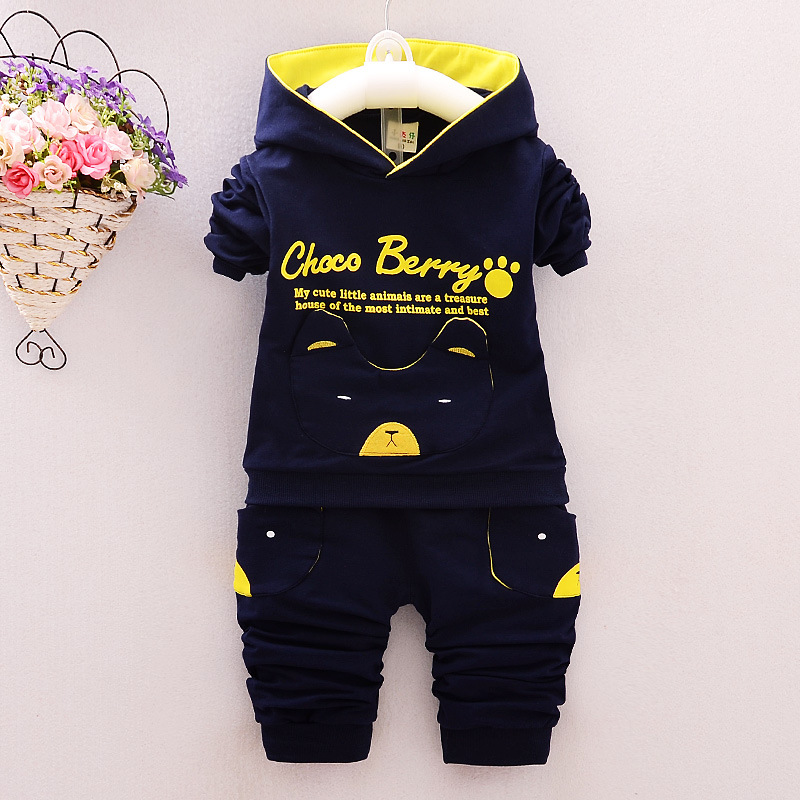 2018 New Baby Boy&Girl Winter Clothes Set Cotton Spring Autumn Newborn Baby Hoodie+ Pant Outfit Set Flying Bear Sport Bodysuit
