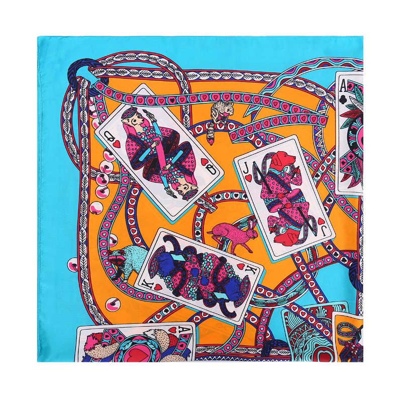 POBING 100% шелковый шарф Для женщин квадратный шарфы палантины покер карты шейный платок женский платок пятен Шелковый Хиджаб Bufandas 110*110 см