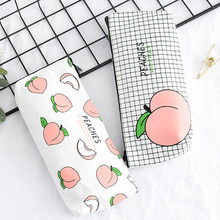 Back to School Pencil Case Fruits Juicy Canvas Peach Pencil Bag Kawaii Pen Bag For Girl Gift School Office Supply Stationery(China)