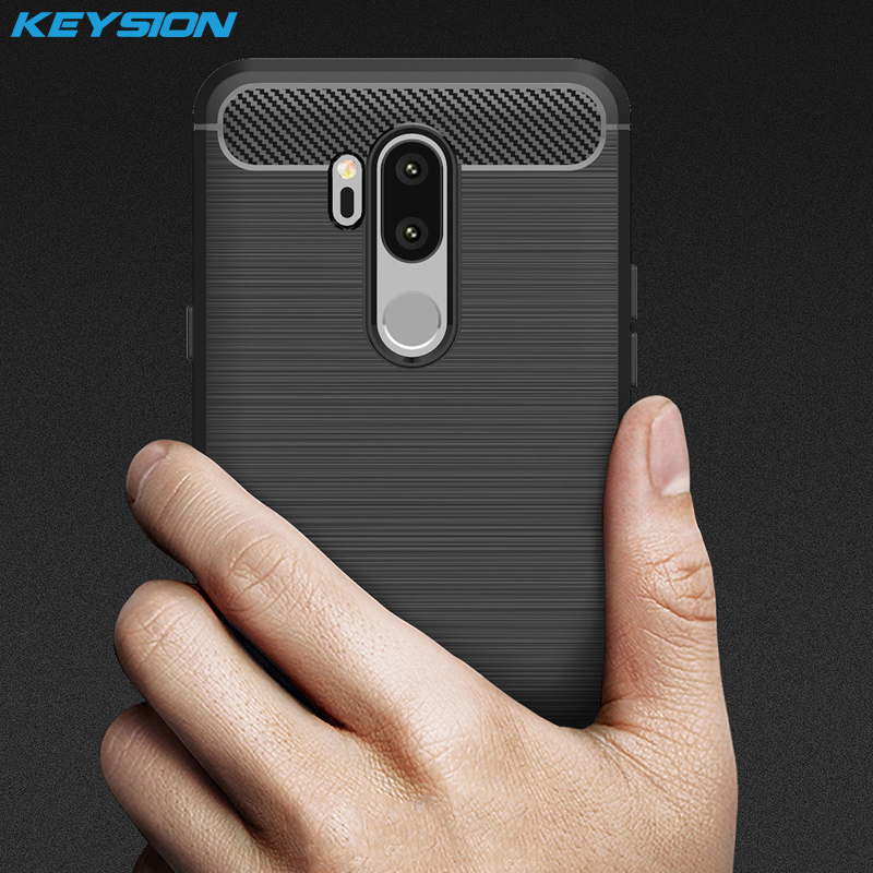 KEYSION Phone Case for LG G7 ThinQ Carbon Fiber Soft TPU Silicone Brushed Anti-Skid Back Cover for LG G7 ThinQ(China)