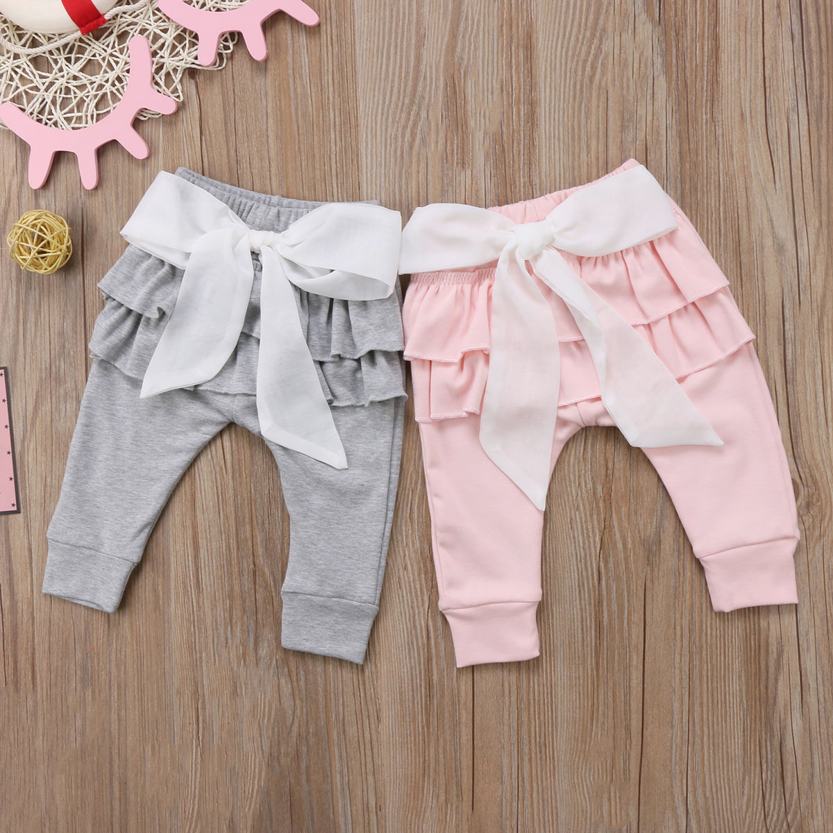 Infant Baby Girl Layered Ruffle Pants Toddler Kid Long Pants Bowknot Casual Bottoms Clothing