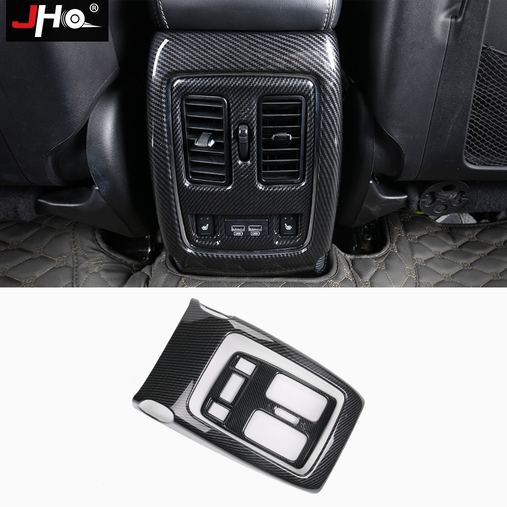 JHO ABS Carbon Fiber Rear Armrest Console Air Vent Outlet Cover Trim For Jeep Grand Cherokee 2014-2018 15 16 17 Car Accessories jho abs chrome inner door bowl wrist handle cover trim for jeep grand cherokee 2014 2015 2016 2017 2018 car interior decors