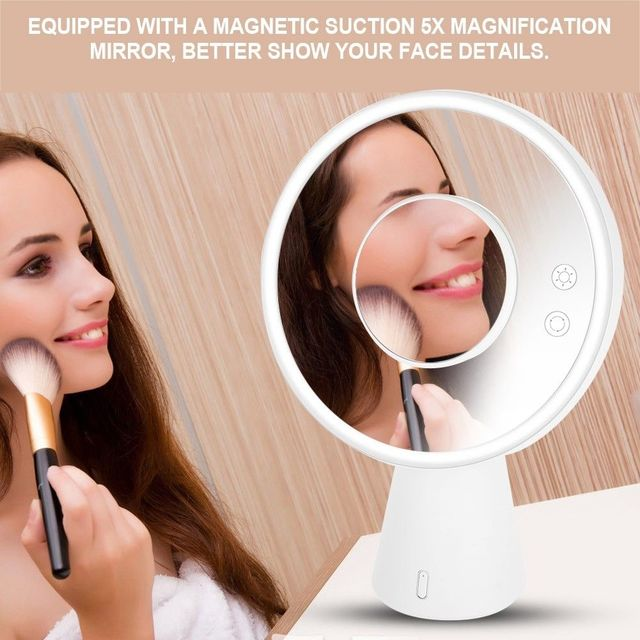 Multifunctional LED Makeup Mirror Lamp Magnify Light up with Bluetooth Audio Table Lamp USB Charger 1