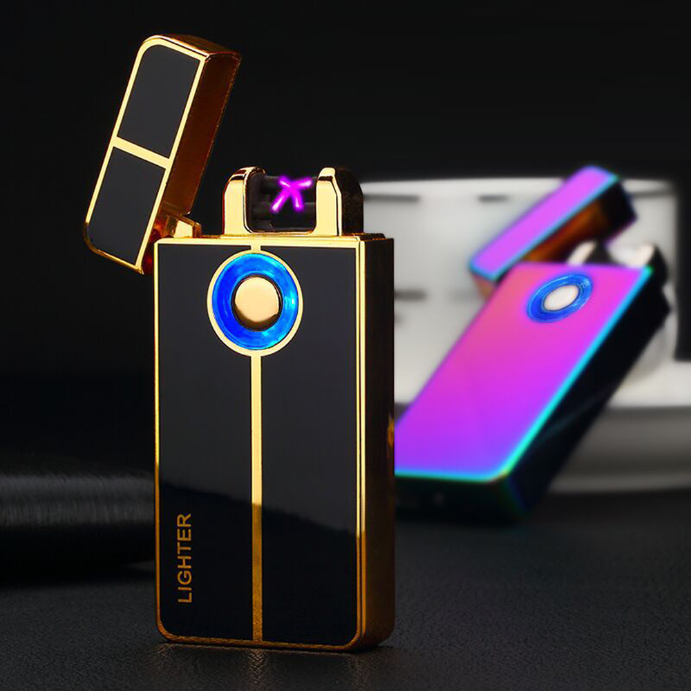 2017 New Rechargeable USB Lighter Finger Touch Dual Arc Pulse Lighter Double Fire Cross Electronic Cigarette Lighters Flameless