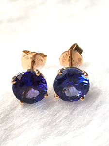 Image 5 - Natural tanzanite rose gold earring, 18K rose gold, rare tanzanite in round 6mm*6mm , classical style, fashion and popular