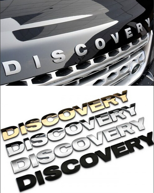 high quality metal 3d discovery letters hood emblem silver chrome black golden logo sticker car words