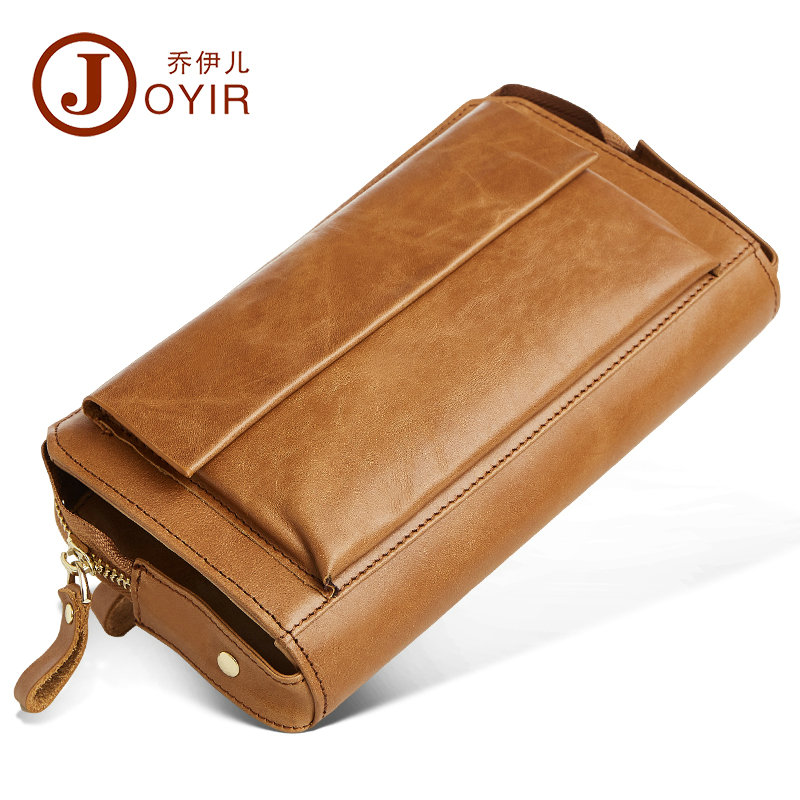 JOYIR Cowhide Men Wallets Genuine Leather Large Capacity Business Hand Bag Clutch Male Purse Long Zipper Coins for iPhone 7 Plus banlosen brand men wallets double zipper vintage genuine leather clutch wallets male purses large capacity men s wallet