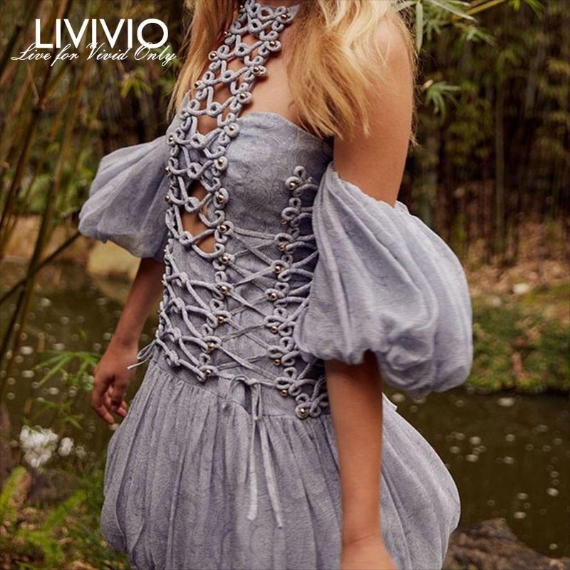 LIVIVIO Off Shoulder Strapless Halter Neck Short Puff Sleeve Lace Up Mini Dress Women Boho
