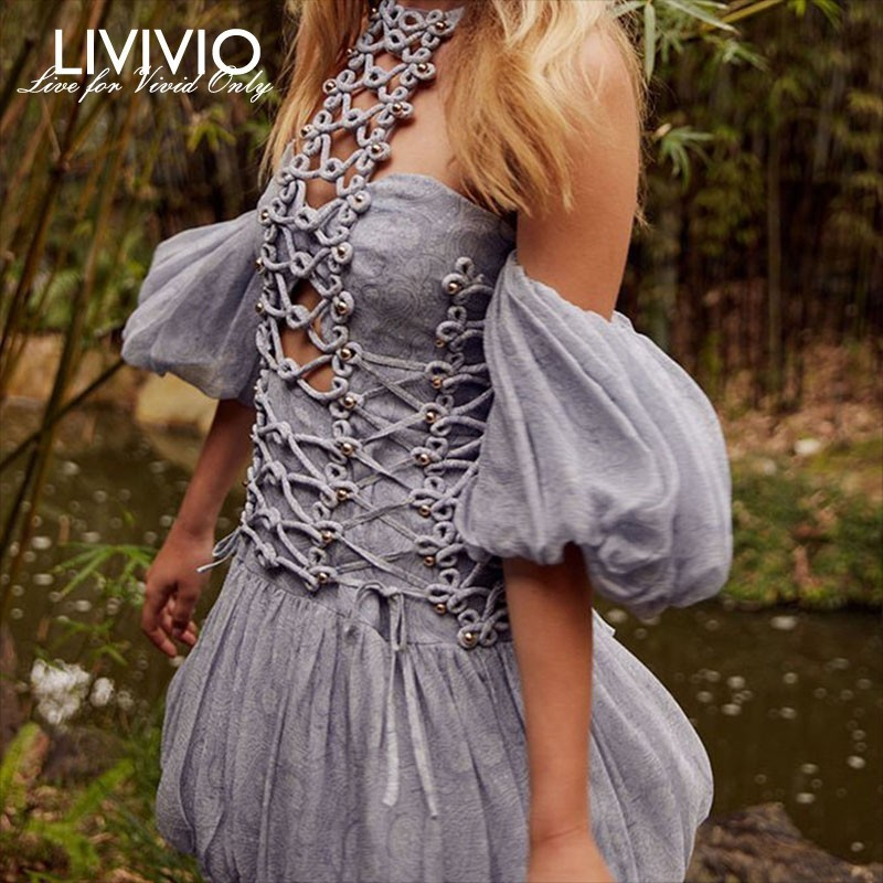 [LIVIVIO] Off Shoulder Strapless Halter Neck Short Puff Sleeve Lace Up Mini Dress Women Boho 2019 Summer Holiday Elegant Clothes-in Dresses from Women's Clothing    1