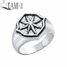 QIAMNI Star Compass Amulet Finger Ring Vintage Hip hop Party Nordic Slavic Pagan Ring Handmade Jewelry Gift Men Women Bague Anel(China)