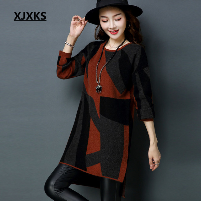 9791ade5da XJXKS Female Casual Long Sweater Pullover Round Neck Knitting Autumn M-XXL  Color Patchwork Women Pullover Sweaters