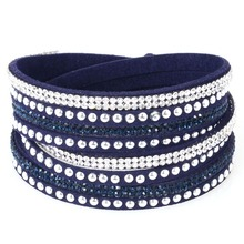 12pcs Wholesale pulseras mujer double cross Bracelets for women handwork braide bracelets with full crystal bracelets