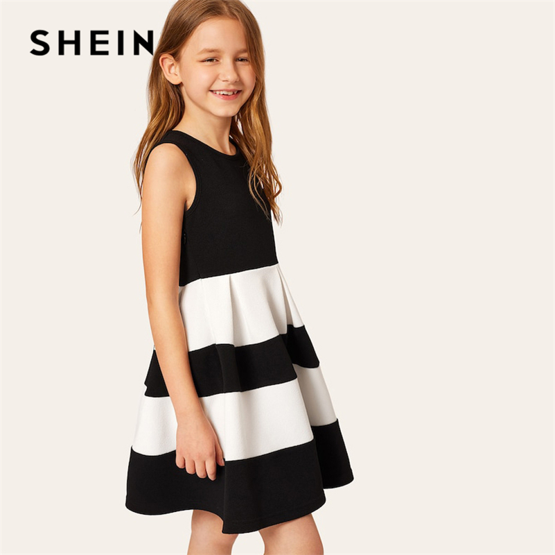 SHEIN Kiddie Colorblock Fit And Flare Casual Girls Tank Dress 2019 Summer Sleeveless High Waist Zipper Cute Pleated Dresses sexy style plunging neck solid color back zipper sleeveless tank top stripe skirt for women