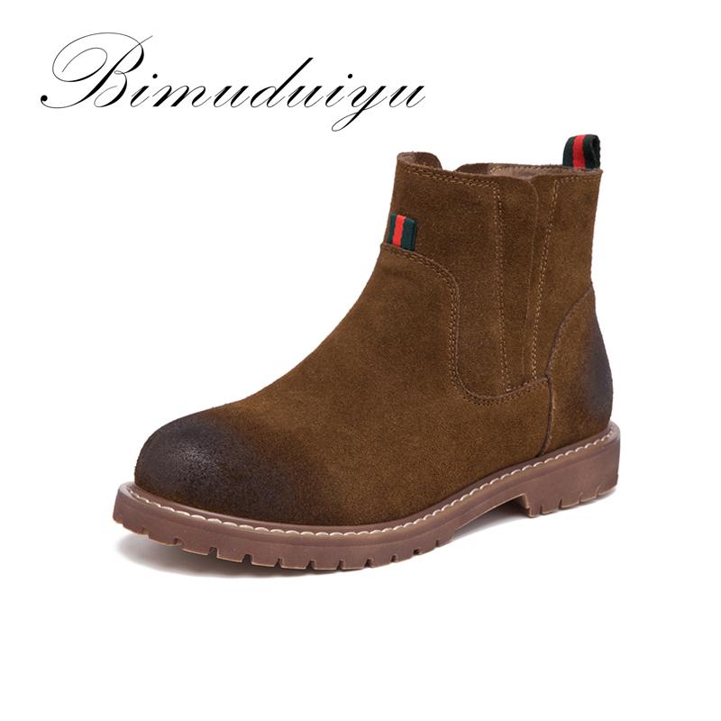 ФОТО BIMUDUIYU New Autumn Winter Boots Genuine Leather Shoes Female Martin Leisure Europe Comfortable Breathable Women's Rubber Boots