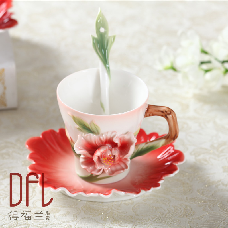 Enamel Painted Coffee Cups Bone China Peony Hand-carved Mug with saucers scoop creativity marriage birthday gift valentine's day