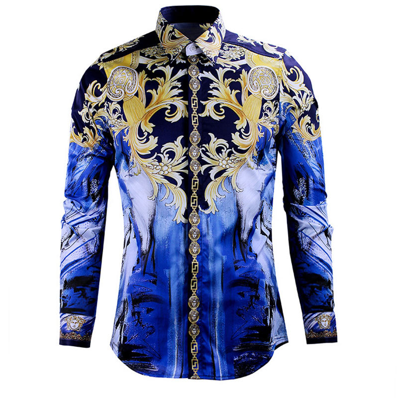 2017Unique Design Fashion Luxury Brand Shirts for Men Printed Slim Long Sleeve Shirts for Boys Chemise Homme Camisas Hombre