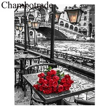 Red Rose Lakeside Street Scenery DIY Picture Frameless Number Linen Canvas Painting Acrylicpaint Landscape Home Artwork Decor