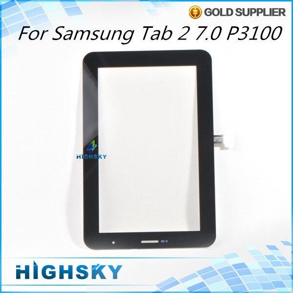 1 шт. бесплатная доставка для Samsung GALAXY Tab2 7.0 P3100 сенсорный дигитайзер жк-экран стекла с flex кабель запасные части