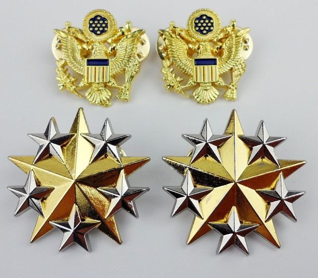 US $26 99 10% OFF|SET US ARMY SIX STAR RANK INSIGNIA BADGE PIN US OFFICER  SHOULDER EAGLE BADGE US022-in Sports Souvenirs from Sports & Entertainment