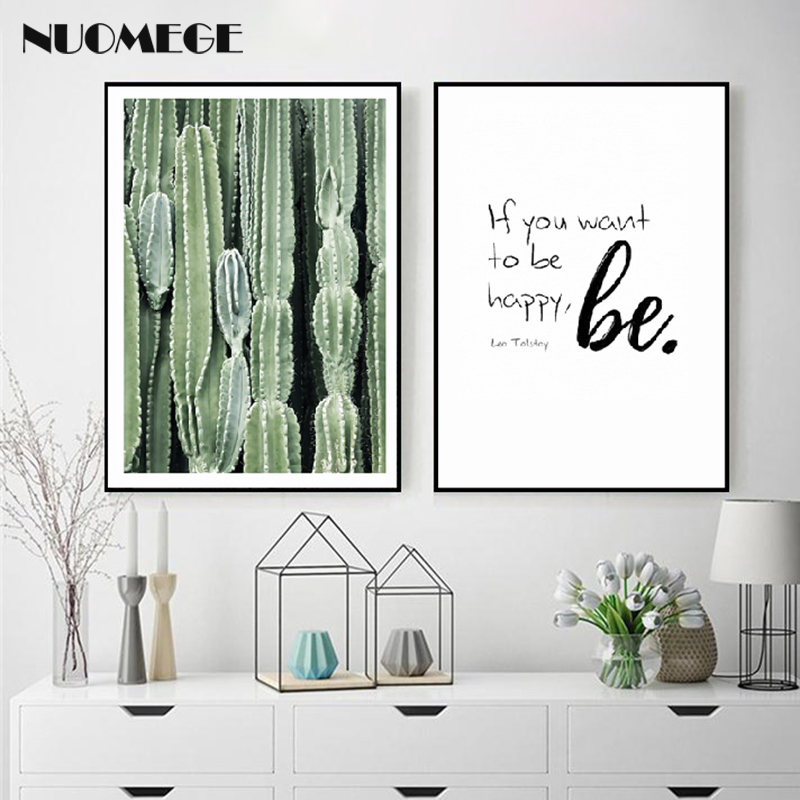 NUOMEGE Nordic Minimalism Poster Green Plants Cactus Leaves Canvas Paintings Wall Art Picture for Living Room Home Decor