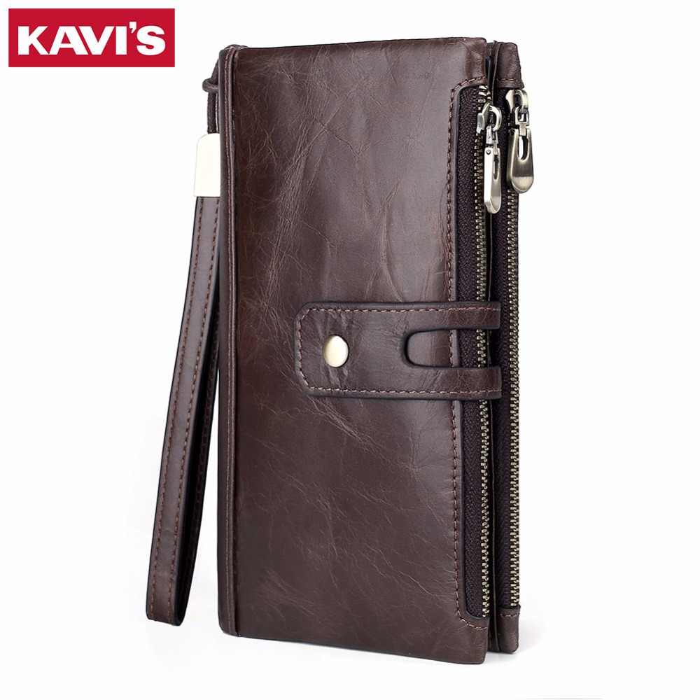 KAVIS New Genuine Leather Men Wallet Male Cell Phone Clutch Coin Purse Walet Portomonee PORTFOLIO Clamp For Money Bag Handy Long new famous brand handy portfolio women men wallet purse male female bag with clamp for money clip portomonee walet cuzdan vallet