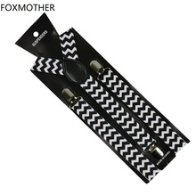 FOXMOTHER Unisex Black White Braces Chevron Zig Zag Y Shape Clip On Elastic Suspenders Women Mens