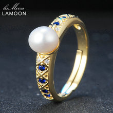 LAMOON 5mm Perlas de Agua Dulce Naturales 925 Joyería de Plata Esterlina Anillo de Bodas con 14 K de Oro Amarillo Plateado S925 Para mujeres LMRI044