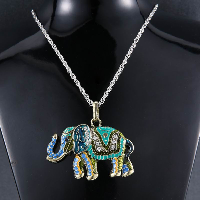 silver gold color jewellery link women item pendant vintage necklaces exquisite elephant in accessories jewelry long from unique plated retro necklace chain