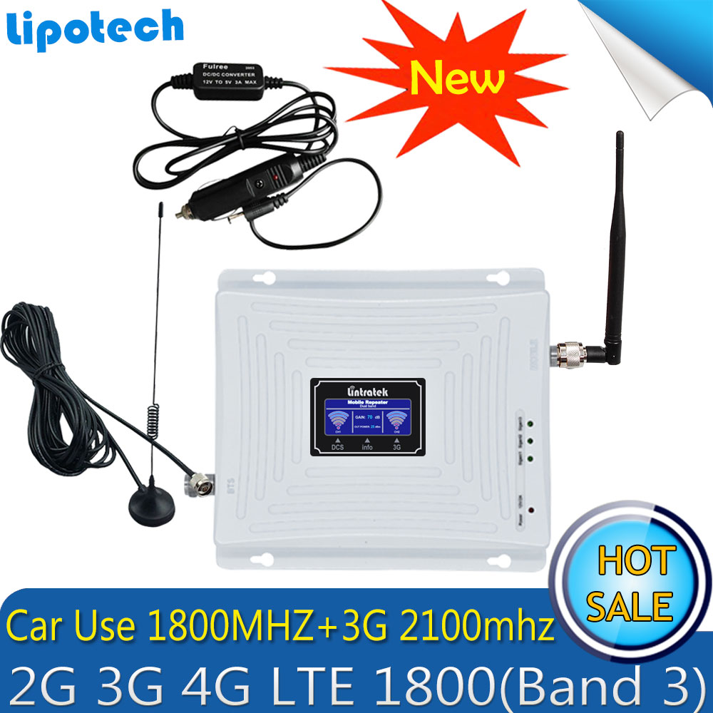 Lintratek Set Car Use Repetidor Dual Band WCDMA 2100 LTE 1800 3G 4G Signal Booster Cellphone Cellular Signal Repeater Amplifier