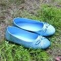 2017 Moda Brillante Azul Princesa Elsa Zapatos Slip on Pisos Zapatos de Cenicienta Espumoso Pajarita Cos-play Sofia chica Glitter Zapatos