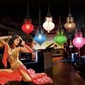 кофе фонарь свет цветное стекло интерьер лампа висящий глобус свет ресторан винтажный подвесной светильник рождественский светильник