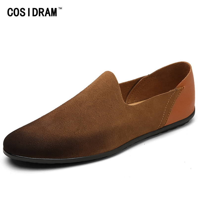 COSIDRAM Plus Size Suede Genuine Leather Men Loafers Moccasins Slip On Men Shoes Fashion Flats Men Casual Driving Shoes RMC-069 black suede loafers for male plus size 38 47 casual mens footwear driving flats loafers suede leather flats slip on shoes mens
