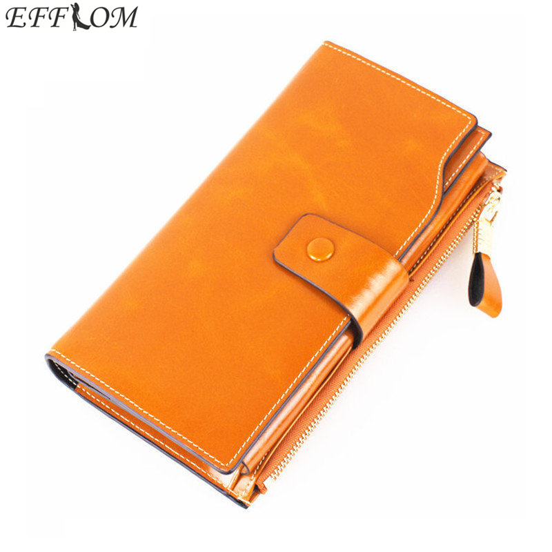 Genuine Leather Wallet 2017 Long Cowhide Luxury Brand Wallets Vintage Oil Wax Ladies Purse Card Holder Phone Clutch for Women цена и фото