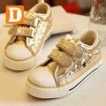 Nuevo 2017 niños shoes boys canvas shoes oro y plata niñas ocio deportes shoes skate board kids shoes niños sólidos zapatillas de deporte