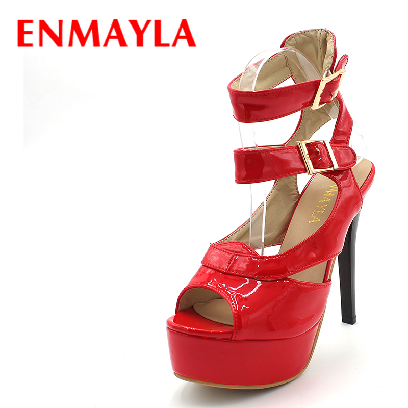ENMAYLA 13cm Sexy High Heels Gladiator Sandals Women Platform Buckle Sandals Summer Shoes Woman Party Pumps Black Red Big Size fashion buttons rivet studs high heels designer gladiator sandals red black women pumps party dress sexy wedding shoes woman