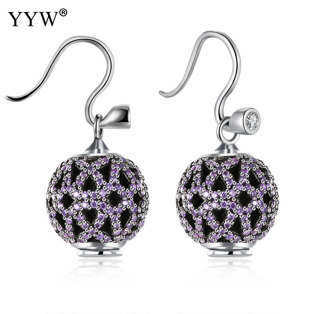 Genuine 925 Sterling Silver Earring Hollow Lantern Micro Pave Pink CZ Round Circle Dangle Earrings For Women Fashion Jewelry silver hollow geometric dangle earrings