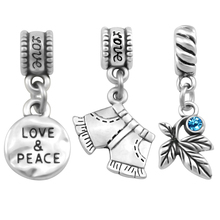 2019 New Arrival Love Peace Short Jeans Charm Fit Pandora Charms Bead Bracelet For Women Making Jewelry Fashion SPP213