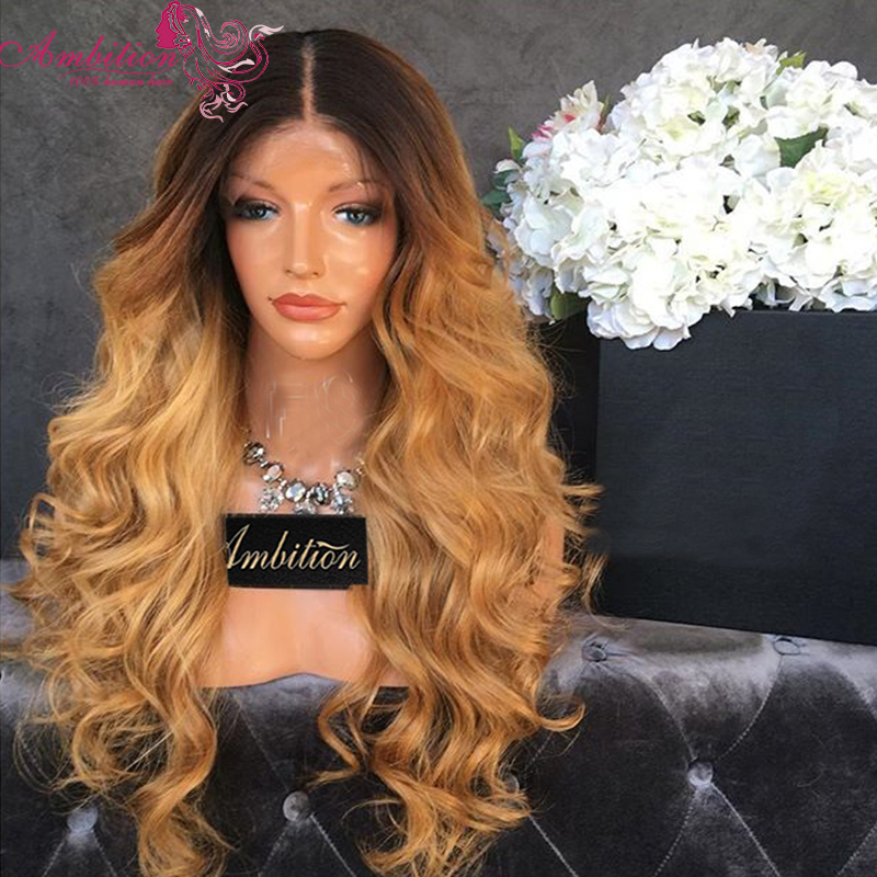 Dark Root 1b 27 Ombre Lace Front Human Hair Wigs Honey