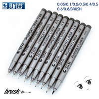 STA 9 Pcs Lot Different Types Pigment Liner Water Based Brush Markers For Drawing Handwriting Signature