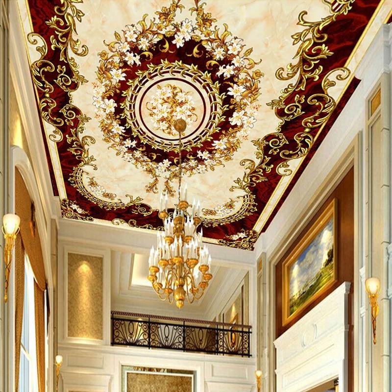 Custom 3D Ceiling Mural Wallpaper European Style Luxury
