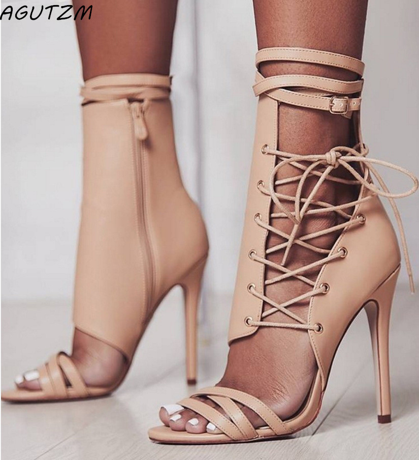 AGUTZM <font><b>2018</b></font> <font><b>Sexy</b></font> High Heels <font><b>Sandals</b></font> Thin Heels Gladiator Women <font><b>Sandals</b></font> Summer Party Shoes Lace-Up Wedding Shoes image
