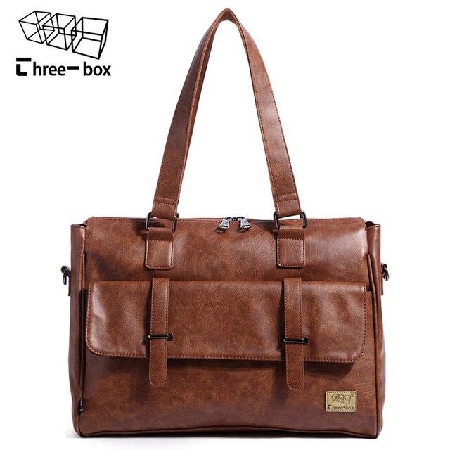 d38d2b6f6112 Three-box Leather Business Men Bag Large Capacity Laptop Tote Briefcases Crossbody  Bags Shoulder Handbag Messenger Bag Mochila